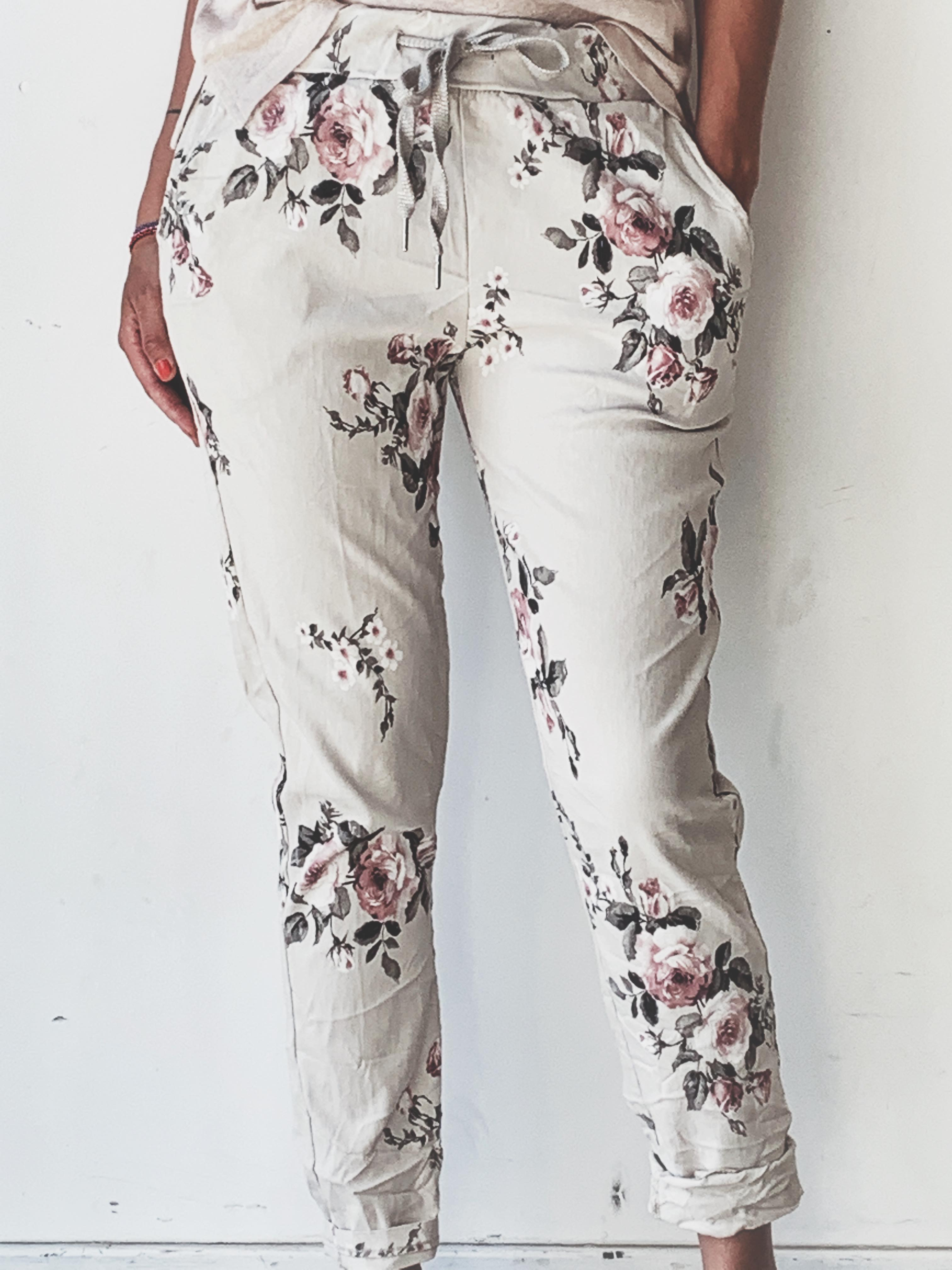 Beige Tindra Blomster Bukse Dorothea.no